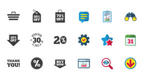 Sale discounts icon. Shopping, deal signs. Sale discounts icon. Shopping cart, coupon and buy now signs. 20, 30 and 50 percent off. Special offer symbols Royalty Free Illustration