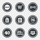 Sale discounts icon. Shopping, deal signs. Sale discounts icon. Shopping cart, coupon and low price signs. 25, 40 and 60 percent off. Special offer symbols stock illustration