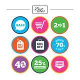 Sale discounts icon. Shopping, deal signs. Sale discounts icon. Shopping cart, coupon and low price signs. 25, 40 and 60 percent off. Special offer symbols vector illustration
