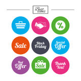 Sale discounts icon. Shopping, deal signs. Stock Photography