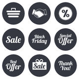 Sale discounts icon. Shopping, deal signs Stock Image