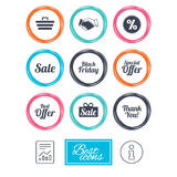 Sale discounts icon. Shopping, deal signs. Royalty Free Stock Image