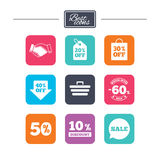 Sale discounts icon. Shopping, deal signs. Sale discounts icon. Shopping, handshake and cart signs. 10, 50 and 60 percent off. Special offer symbols. Colorful Royalty Free Illustration