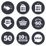 Sale discounts icon. Shopping, deal signs. Sale discounts icon. Shopping, handshake and cart signs. 10, 50 and 60 percent off. Special offer symbols. Gray flat Vector Illustration