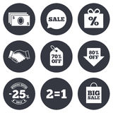 Sale discounts icon. Shopping, deal signs. Sale discounts icon. Shopping, handshake and cash money signs. 25, 70 and 80 percent off. Special offer symbols. Gray Stock Photo