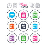 Sale discounts icons. Special offer signs. Royalty Free Stock Image