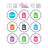 Sale discounts icons. Special offer signs. Stock Photos
