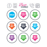 Sale discounts icons. Special offer signs. Royalty Free Stock Images