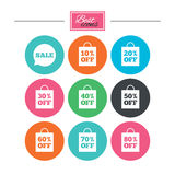 Sale discounts icons. Special offer signs. Shopping bag, price tag symbols. Colorful flat buttons with icons. Vector royalty free illustration