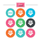 Sale discounts icons. Special offer signs. Shopping price tag symbols. Colorful flat buttons with icons. Vector vector illustration