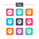Sale discounts icons. Special offer signs. Shopping price tag symbols. Colorful flat square buttons with icons. Vector royalty free illustration
