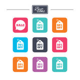 Sale discounts icons. Special offer signs. Shopping price tag symbols. Colorful flat square buttons with icons. Vector vector illustration