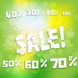 Sale.discounts and interest on a green background.vector background Stock Photos