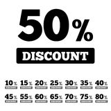 Sale discounts stamps. Special offer stickers. Icons with percents from 10 till 80. Bargain sale labels stock illustration