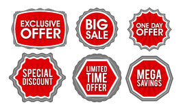 Sale and Discounts stickers, tags or labels set. Royalty Free Stock Images