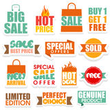 Sale and Discounts stickers, tags or labels set. Royalty Free Stock Photos