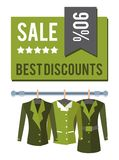 Sale Discounts 90 Total Sale Special Offer Llabel. Sale best discounts 90 total off special offer label discount tag with jackets on hangers, vector emblem Stock Photos