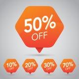 10% 15% 20%, 25%, 30%, 35%, 45%, 50%, 65%, 70% Sale, diskett, av på den gladlynta orange etiketten för att marknadsföra återförsä royaltyfri illustrationer