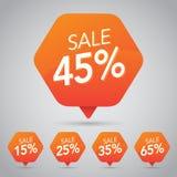 45% Sale, diskett, av på den gladlynta orange etiketten för att marknadsföra återförsäljnings- beståndsdeldesign vektor illustrationer