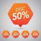50% Sale, diskett, av på den gladlynta orange etiketten för att marknadsföra återförsäljnings- beståndsdeldesign stock illustrationer