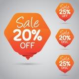 20% 25% Sale, diskett, av på den gladlynta orange etiketten för att marknadsföra återförsäljnings- beståndsdeldesign royaltyfri illustrationer