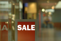 SALE display. Sale standing display in the shopping mall Stock Photography