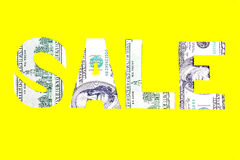 Sale dollar sign on a yellow background Stock Photography