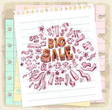Sale doodle  on paper note, vector illustration Stock Image