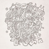 Sale doodles elements sketch background Royalty Free Stock Photo