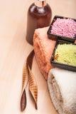 Sale e tovaglioli colorati del mare per la stazione termale Fotografie Stock Libere da Diritti