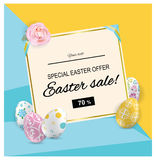 Sale Easter banner. Colorful ornamental Easter eggs and pink rose on abstract yellow blue background. Place for text Royalty Free Stock Photography