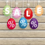 Sale Easter Eggs Ribbon Wood Royalty Free Stock Images