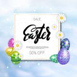 Sale Easter Holiday Discounts Concept Colorful Background Template Card Decoration Design. Vector Illustration Stock Image