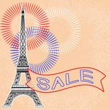Sale. Eiffel Tower. Fireworks. Tape with text. Sale. Event concept. Eiffel Tower. Fireworks Tape with text Royalty Free Stock Image