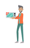 Sale in Electronics Store Flat Vector Concept. Discounts in electronics store concept. Smiling man standing with microwave bought on sale flat vector Stock Photos