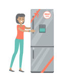 Sale in Electronics Store Flat Vector Concept. Discounts in electronics store concept. Smiling woman standing with refrigerator bought on sale flat vector Royalty Free Stock Photo