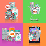 Sale in Electronics Store Vector Concepts Set Royalty Free Stock Photos