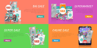 Sale in Electronics Store Vector Concepts Set Royalty Free Stock Image