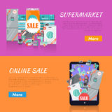 Sale in Electronics Store Vector Web Banners Stock Photos