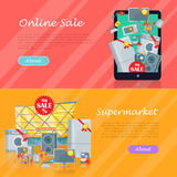 Sale in Electronics Store Vector Web Banners Royalty Free Stock Images