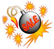 Sale emblem with bomb and stars Royalty Free Stock Photos