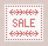 Sale embroidered cross-stitch. Discount  banner. Stock Photography