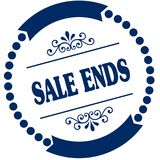 SALE ENDS blue seal. Illustration graphic concept image Royalty Free Stock Photos