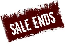 SALE ENDS on red retro distressed background. Illustration image Royalty Free Stock Image