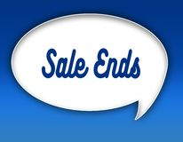 SALE ENDS text on dialogue balloon illustration. Blue background. Royalty Free Stock Photo