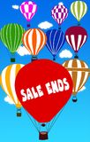 SALE ENDS written on hot air balloon with a blue sky background. Illustration Stock Photography