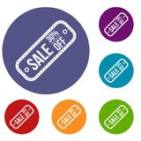 Sale etikett 30 procent av symbolsuppsättning Fotografering för Bildbyråer