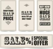 Sale etiketter stock illustrationer