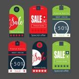 Sale etiketter med försäljningsmeddelanden Arkivfoto