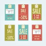 Sale etiketter med försäljningsmeddelanden Arkivbilder